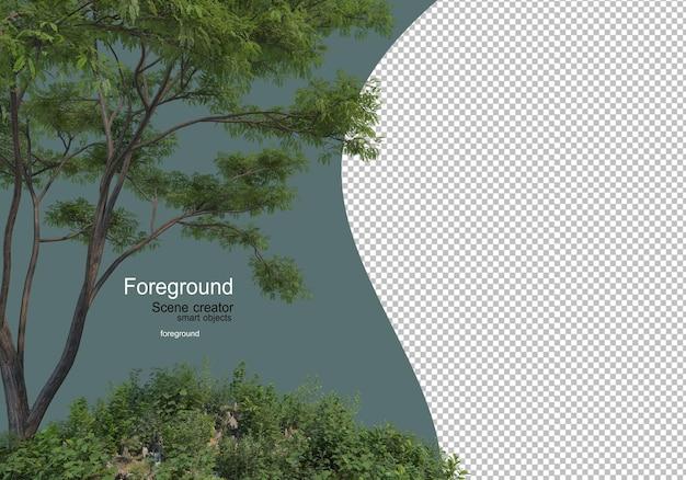 Giardini fioriti e arbusti con albero frontale Psd Premium