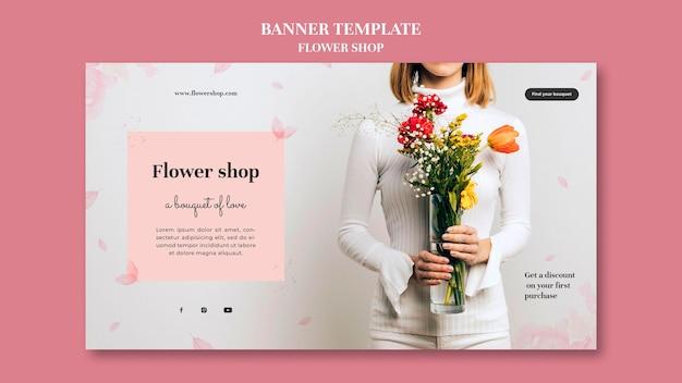 Modello di banner per negozio di fiori