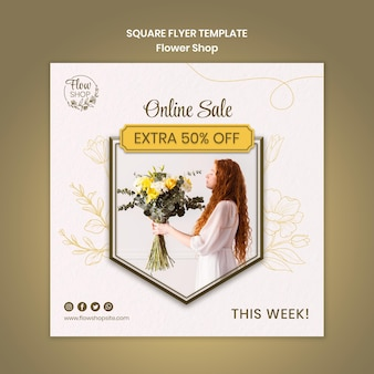 Volantino quadrato vendita fiori negozio online