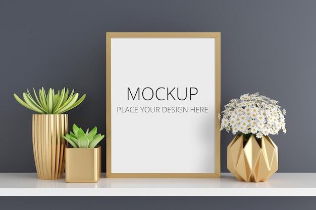Fiore e pianta in vaso succulenta con mockup di cornice