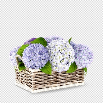 Cesto di fiori in 3d rendering isolato