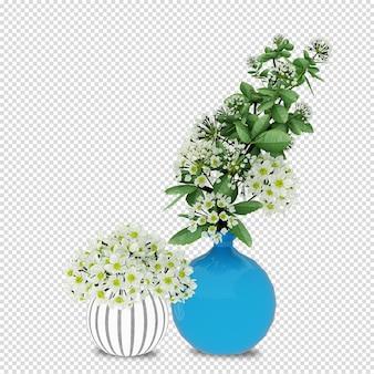 Cesto di fiori in rendering 3d