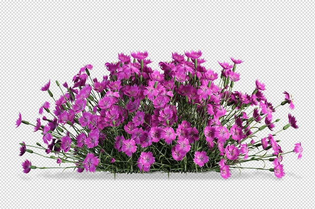 Fiori di vaso mockup in rendering 3d isolato