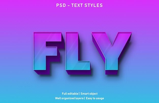 Vola modello di stile effetto testo