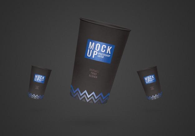 Modello di volantino tazza nera realistico