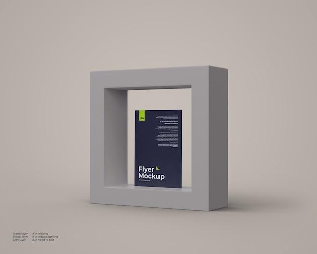 Modello di volantino all'interno della scatola 3d Psd Premium