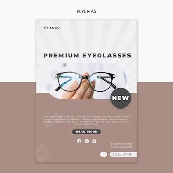 Modello di volantino per azienda di occhiali da vista