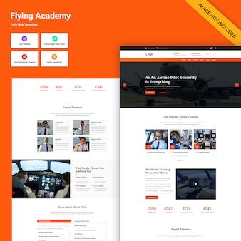 Modello psd del sito web flying academy