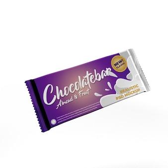 Flying big chocolate bar doff foil mockup di pubblicità per l'imballaggio del prodotto opaco