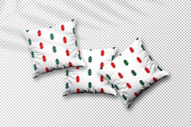 Mockup di cuscini natalizi volanti con ombra di foglie di palma
