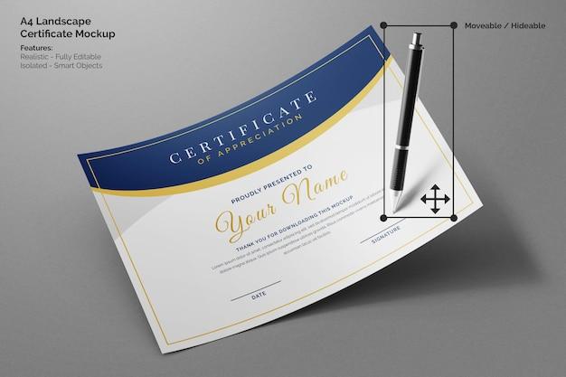 Modello realistico di carta a4 di certificato aziendale orizzontale minimo volante con penna per la firma