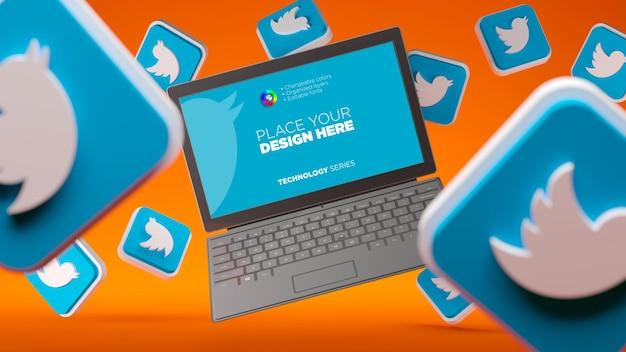 Modello di schermo del taccuino volante con icone 3d di twitter