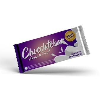 Mockup pubblicitario di imballaggio del prodotto opaco con lamina di cioccolato grande lato volante