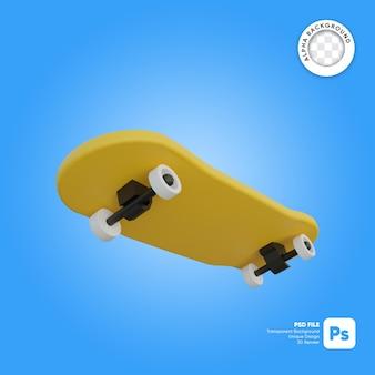 Oggetto 3d in stile cartone animato con skateboard volante