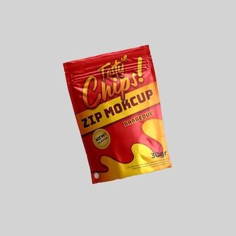 Confezione di alimenti realistici con chiusura a zip flying snack e mockup di prodotti 3d per il branding