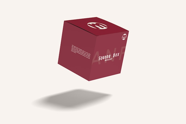 Flying square box mockup design isolato
