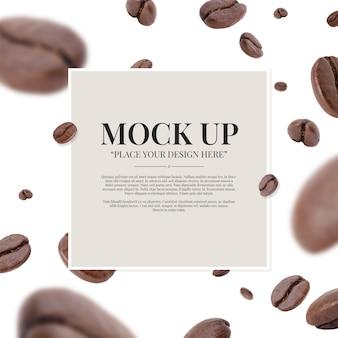 Vortice di volo tostato chicchi di caffè con modello di copia spazio mockup