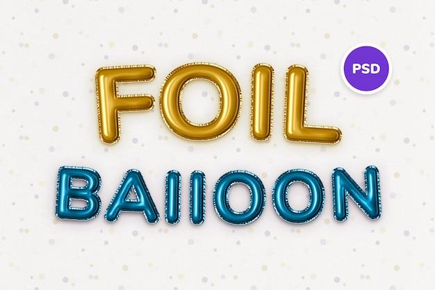 Effetto testo palloncino foil