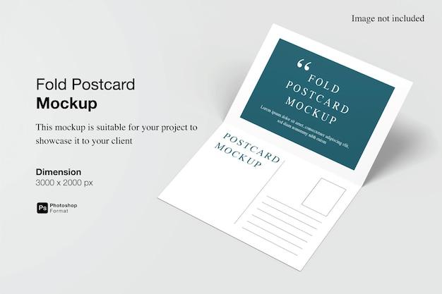 Fold postcard mockup design in 3d rendering