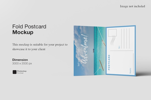 Fold postcard mockup design rendering