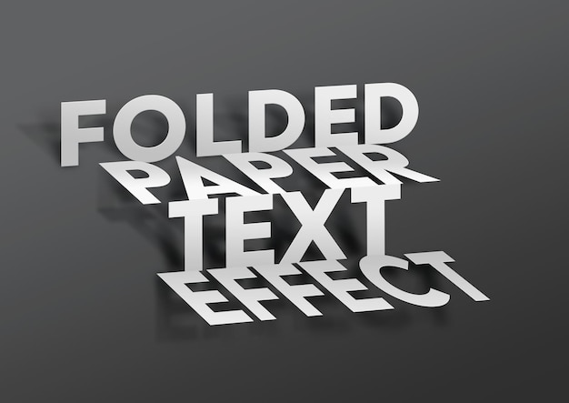 Modello di effetto di testo in carta piegata