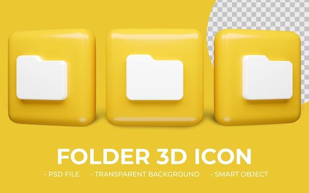 Icona di cartella 3d rendering isolato