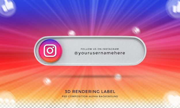 Seguimi su instagram social media terzo inferiore 3d design render icona badge con cornice