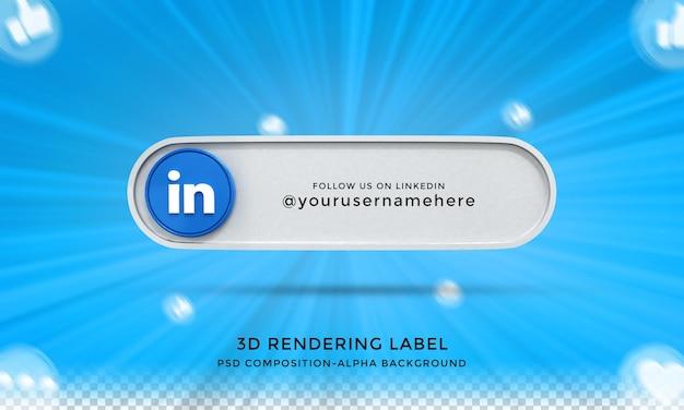 Seguimi su linkedin social media terzo inferiore 3d design render icona badge con cornice