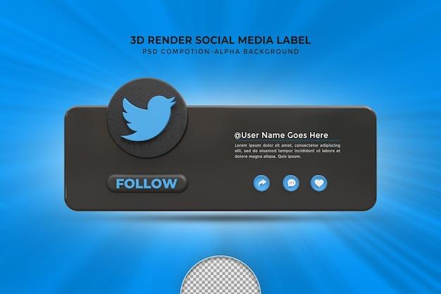 Seguimi su twitter social media terzo inferiore 3d design render icona badge con cornice