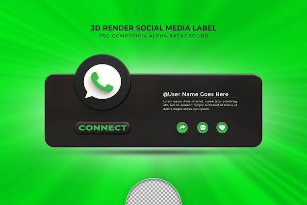 Seguimi su whatsapp social media terzo inferiore 3d design render icona badge con cornice
