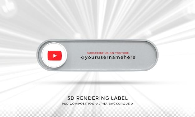 Seguimi su youtube social media terzo inferiore 3d design render icona badge con cornice