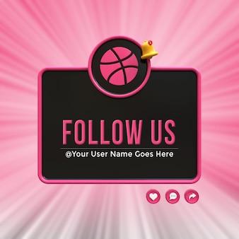 Seguici su dribbble social media terzo inferiore 3d design render icona badge