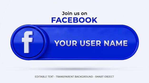 Seguici su banner social media facebook con logo 3d e profilo di collegamento