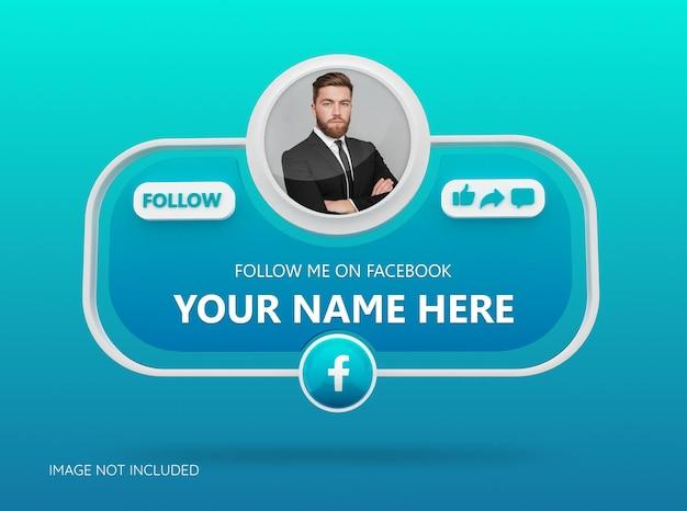 Seguici sui social media facebook con logo 3d e box profilo link