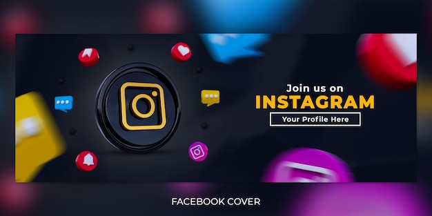 Seguici sui social media instagram banner copertina facebook con logo 3d e profilo link