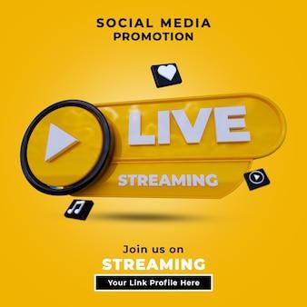 Seguici su post sui social media in live streaming con logo 3d e il tuo link