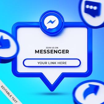Seguici sul banner quadrato dei social media di messenger con logo 3d e profilo di collegamento