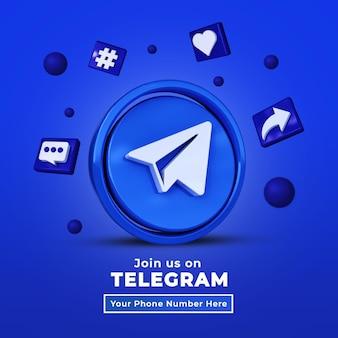 Seguici sul banner quadrato dei social media di telegram con logo 3d e profilo di collegamento