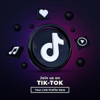 Seguici sul banner quadrato dei social media tik tok con logo 3d e casella del profilo di collegamento