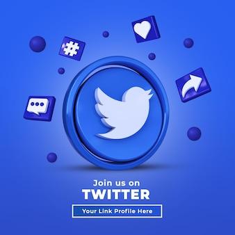Seguici su twitter banner quadrato per social media con logo 3d e casella del profilo di collegamento