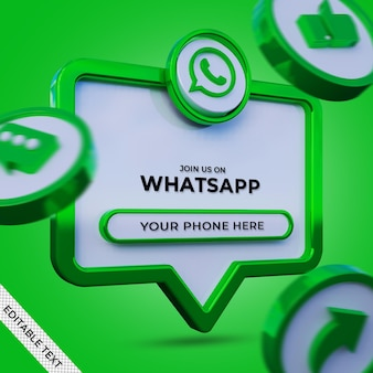 Seguici su whatsapp social media banner quadrato con logo 3d e profilo di collegamento