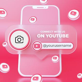 Seguici sul modello di banner quadrato per social media di youtube