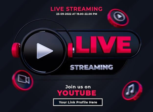 Seguici su youtube banner quadrato social media con logo 3d e canale di collegamento
