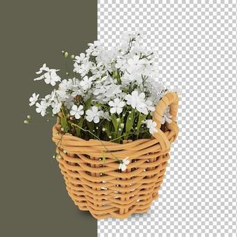 Font view cesto di fiori nel rendering 3d