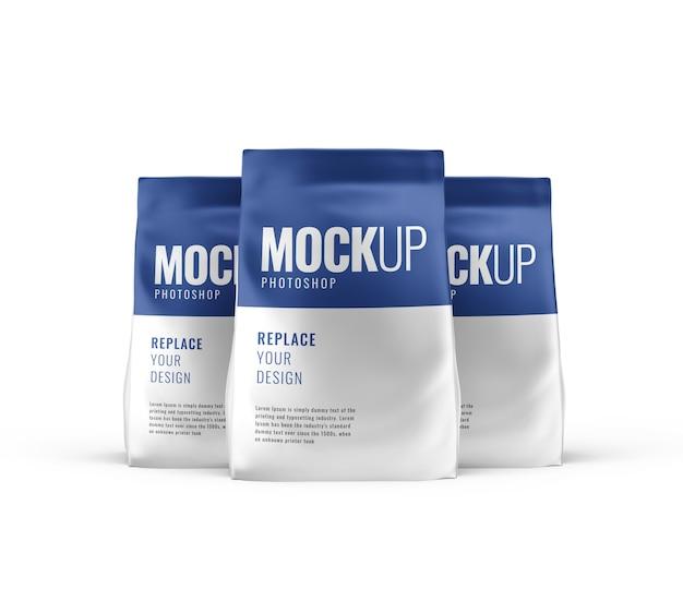 Mockup pubblicitario di sacchetti di cibo