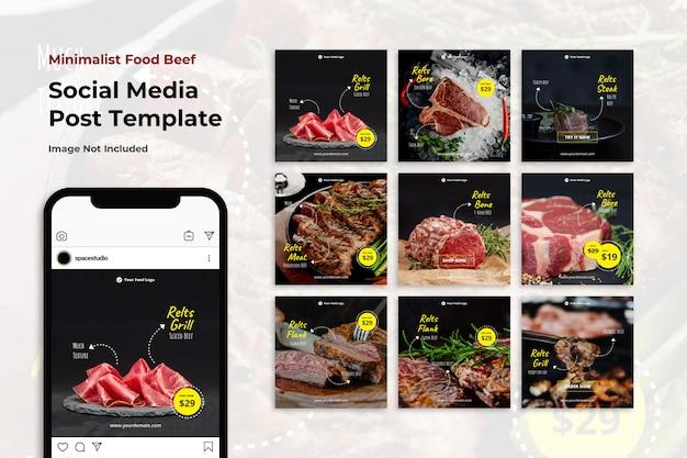 Modelli minimalisti di instagram di banner social media di manzo alimentare