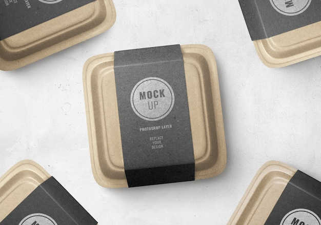 Pubblicità realistica del mockup dell'etichetta nera della scatola dell'alimento