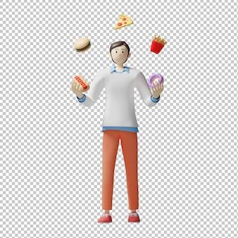 Cibo circo menu 3d illustrazione design rendering carattere isolato