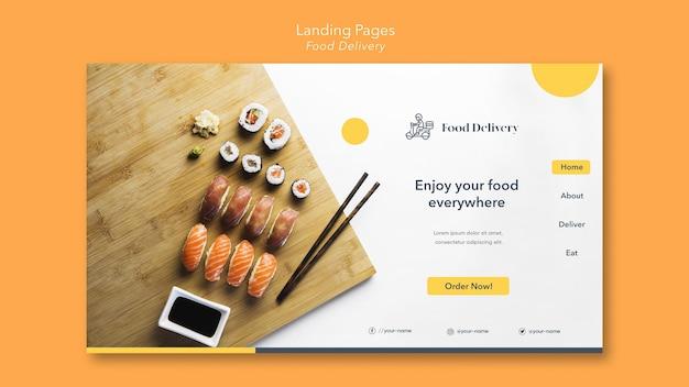 Modello di pagina di destinazione per la consegna di cibo