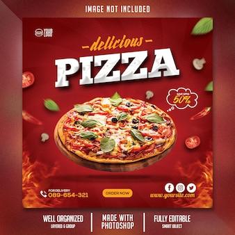 Modello di volantino alimentare con tema pizza